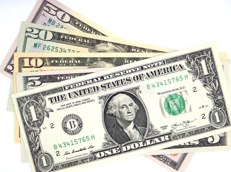 Money, dollar banknotes, one, five, ten, twenty, fifty dollars royalty free stock photography