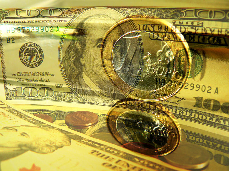 Money Dollars Euro stock photos