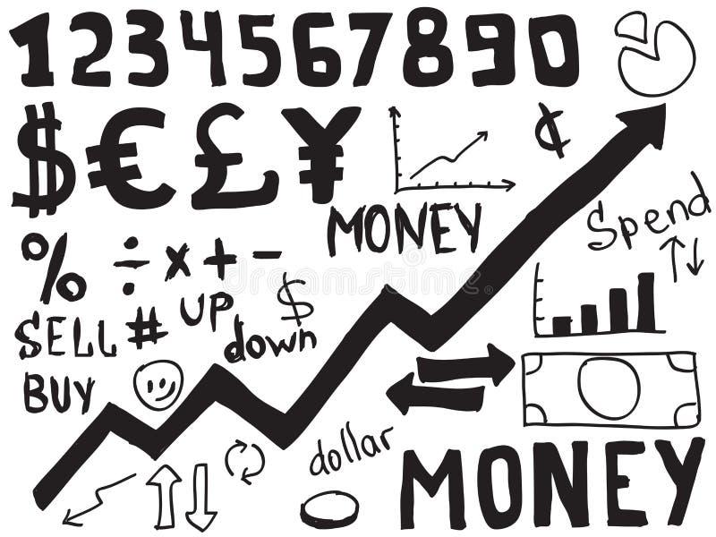 Money doodles royalty free illustration