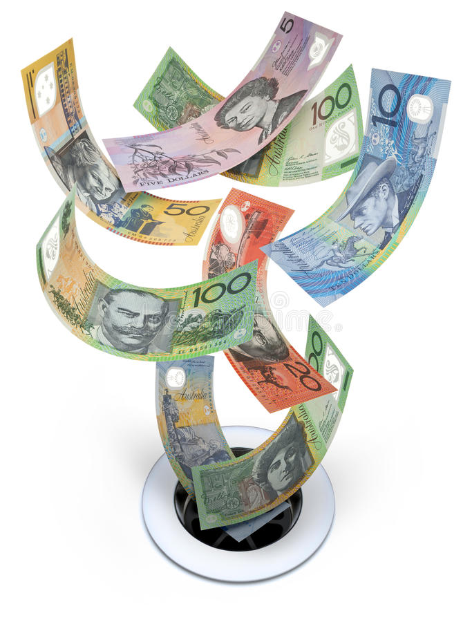 Australian Money Down The Drain Waste. Australian money going down the drain on a white background stock photography