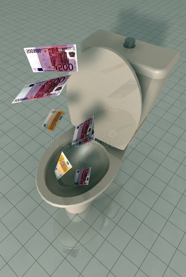 Money Down The Toilet Stock Images