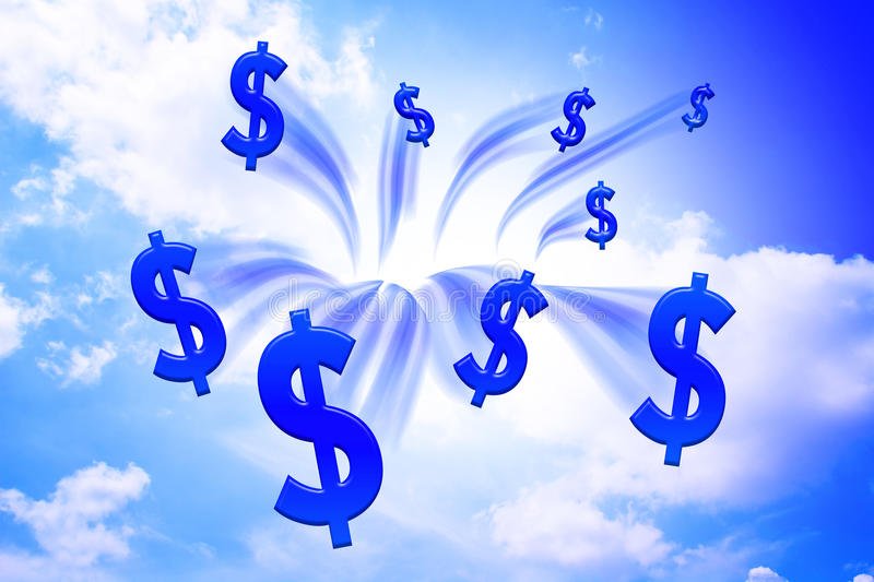 Money drop from sky. Blue money abstract royalty free illustration