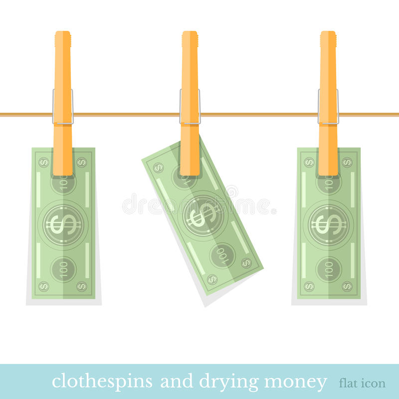Money dry on the rope flat design concepts royalty free illustration