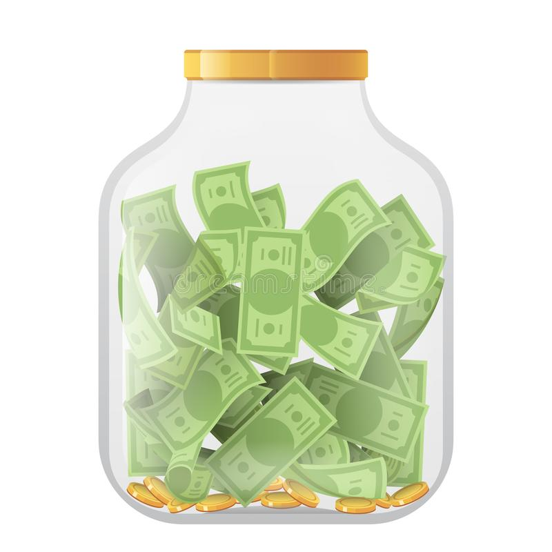 Money economy saving bank coin banknote deposit glass pot jar moneybox isolated on white mockup icon 3d realistic design. Money economy saving bank coin banknote stock illustration