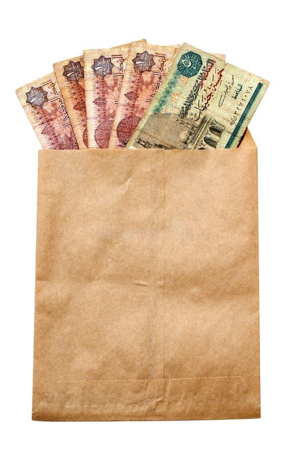 Money of Egypt in paper envelop stock photos