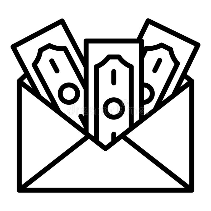 Money in envelope icon, outline style stock illustration