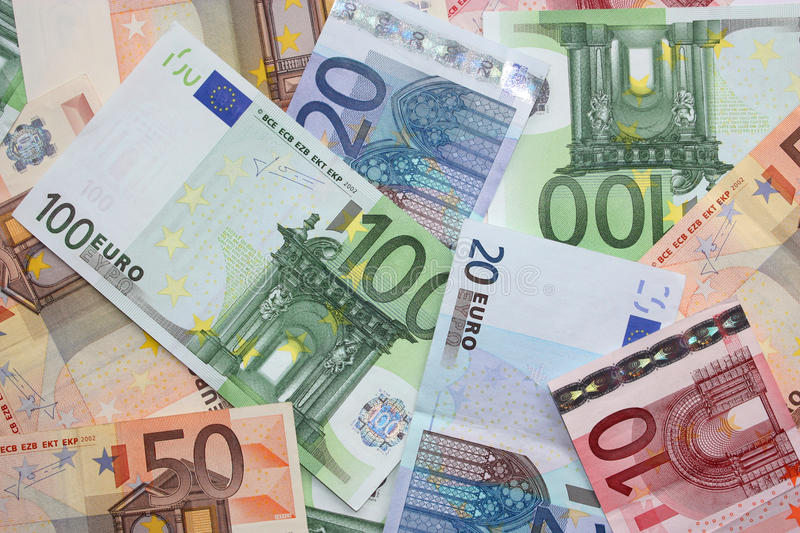 Money euro banknotes. Background of euro money 100 50 20 and 10 stock image