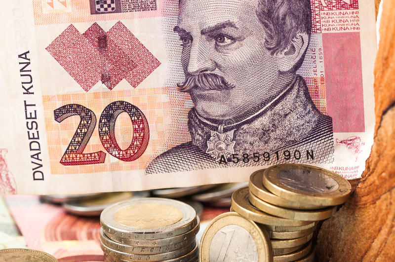 Money Euro 20 Kuna Bill and Coins stock image