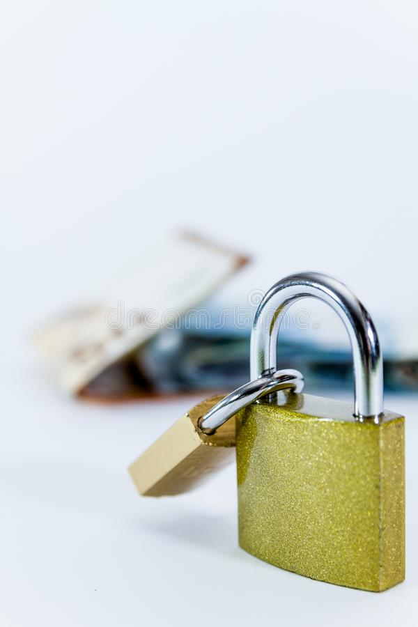 Money Euro value banknotes with padlock, European Union payment system stock photo