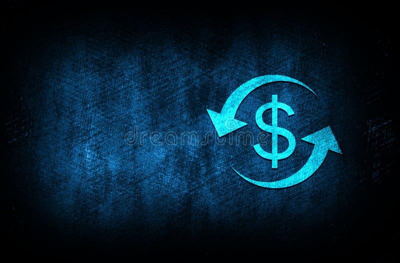 Money exchange dollar sign icon abstract blue background illustration digital texture design concept. Money exchange dollar sign icon abstract blue background vector illustration