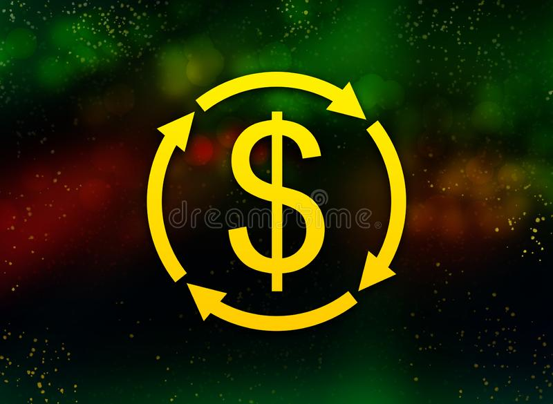 Money exchange dollar sign icon abstract bokeh dark background stock illustration