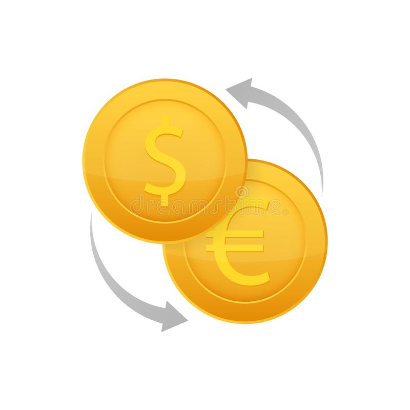 Money exchange icon. Banking currency sign. Euro and Dollar Cash transfer symbol. Vector stock illustration royalty free illustration