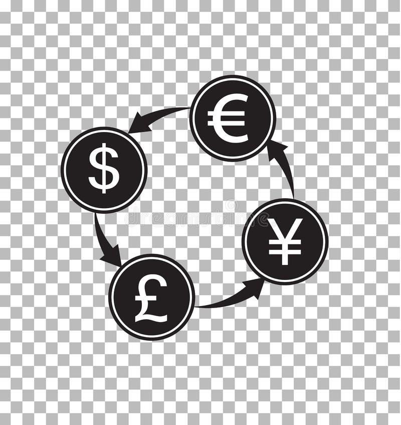 Money exchange transparent. money convert sign. Flat style. money symbol royalty free illustration