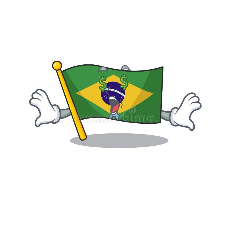 Money eye brazil flag kept in mascot drawer. Illustration vector royalty free illustration
