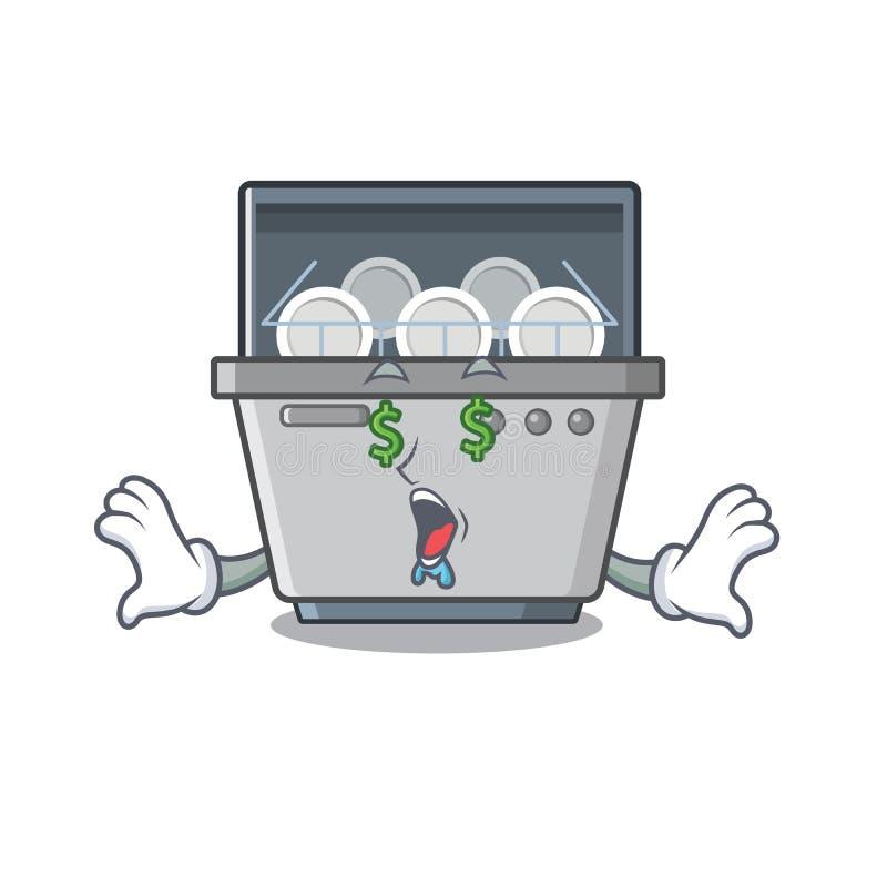 Money eye dishwasher machine next to cartoon stove stock illustration
