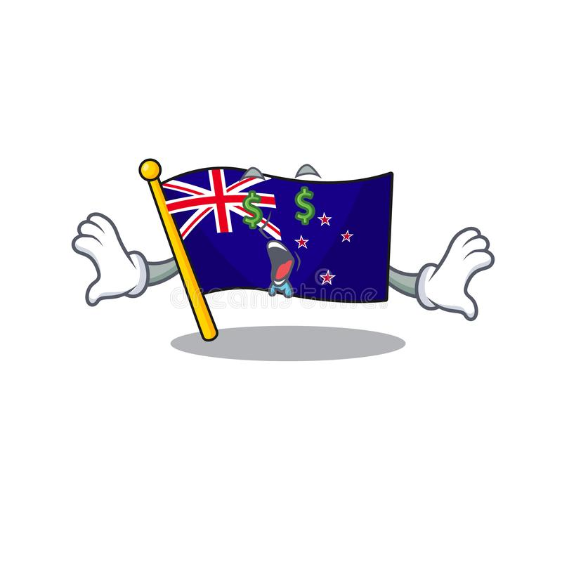 Money eye flag new zealand in cartoon drawer. Vector illustration stock illustration