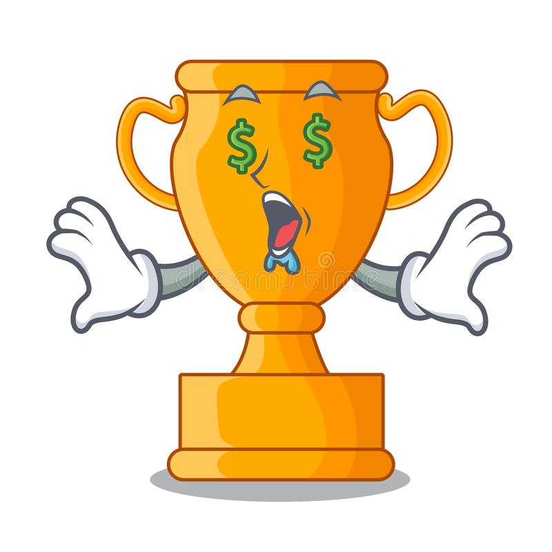 Money eye golden trophy cup isolated on mascot stock illustration