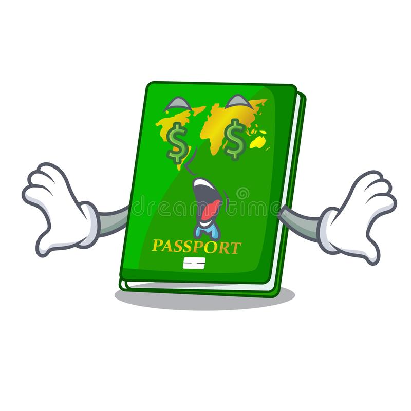 Money eye green passport on the mascot table royalty free illustration