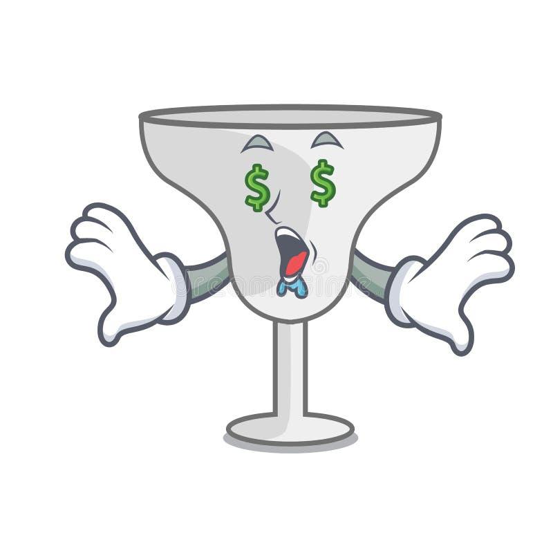 Money eye margarita glass mascot cartoon. Vector illustration stock illustration