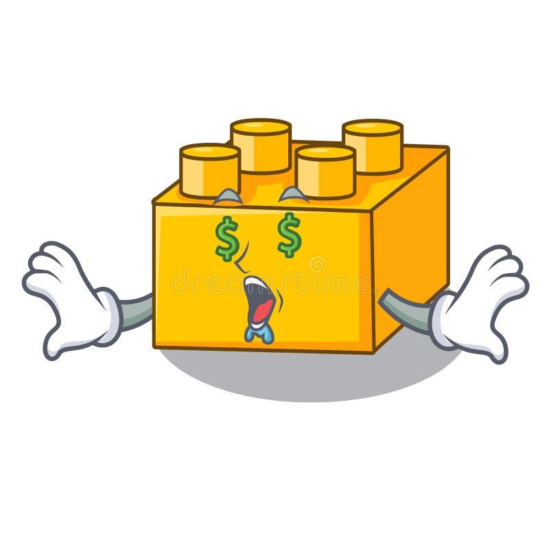 Money eye plastic building tyos shaped on mascot. Vevtor illustration stock illustration