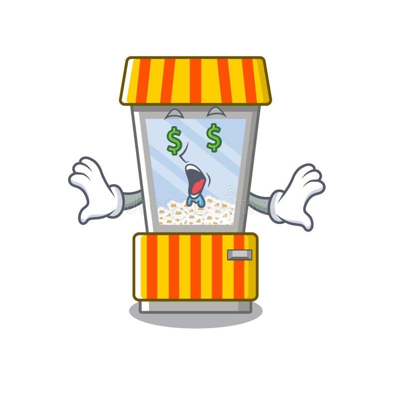 Money eye popcorn vending machine in mascot shape. Vector illustration stock illustration