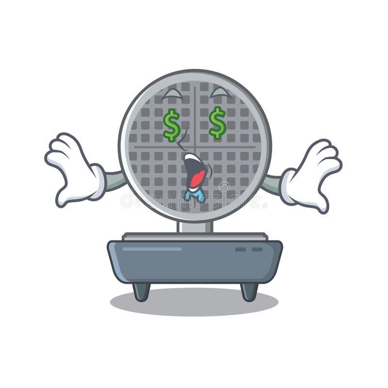 Money eye waffle iron above the table mascot vector illustration