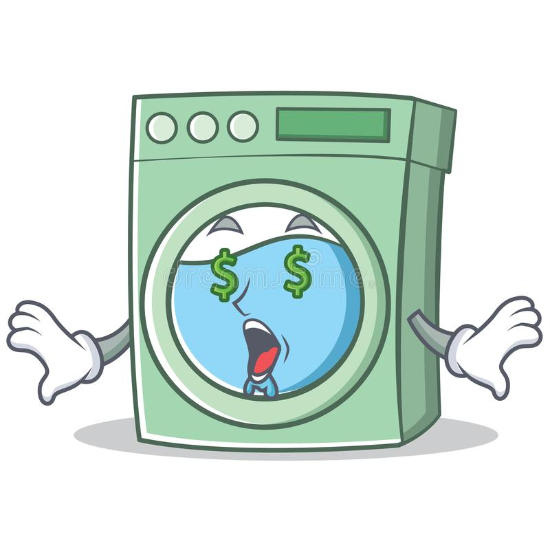 Money eye washing machine character cartoon royalty free illustration