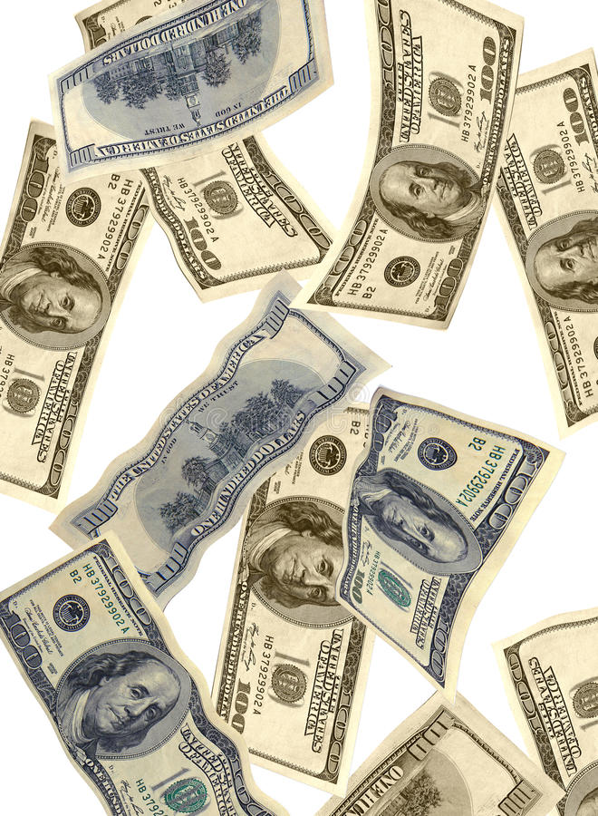 Money Falling USA Dollars Stock Photo