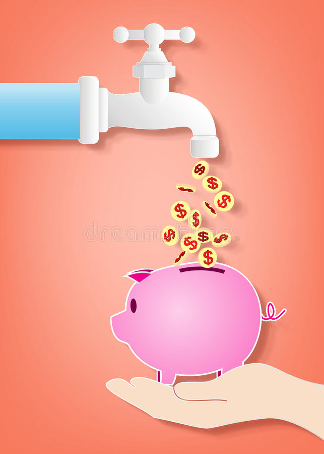 Money fall out of the tap stock illustration