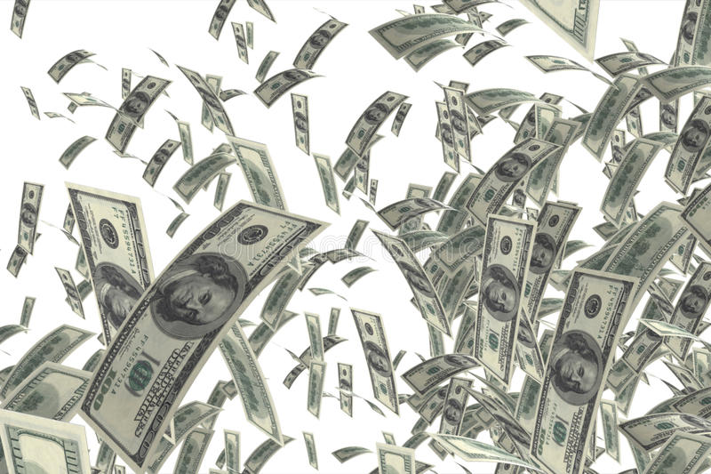 Money falling stock photo
