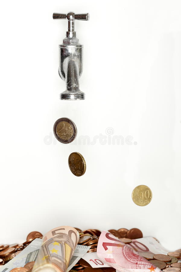 Money is falling down. Some falling coins and banknotes on white background stock images