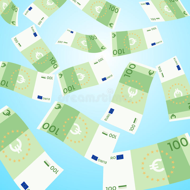 Money falling from sky, 100 Euro banknotes falling vector illustration