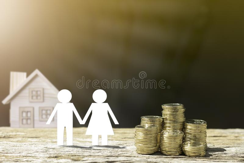 Money and family on wood. royalty free stock photos