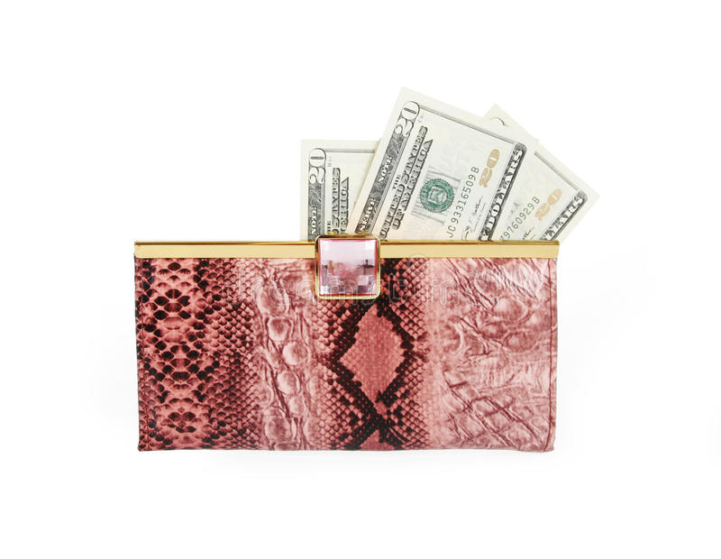 Money in female purse isolated on white stock photos