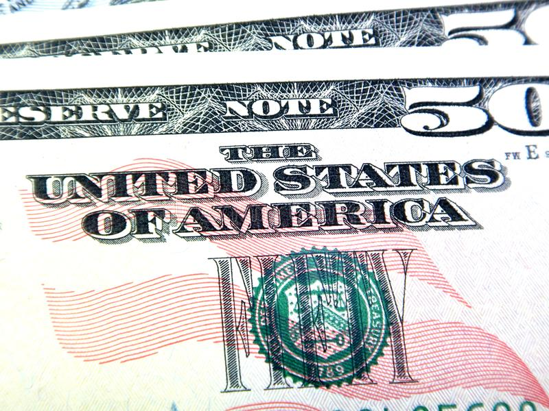 Money, fifty dollar banknote detail, USA stock images