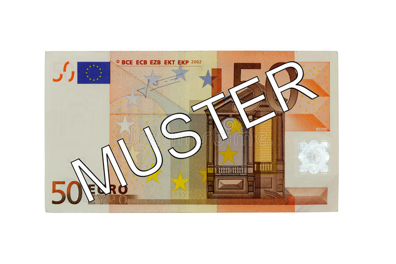 Money - Fifty (50) Euro bill front with German lettering Muster (specimen). Money - Fifty (50) Euro bill banknote front with German lettering Muster (specimen stock image