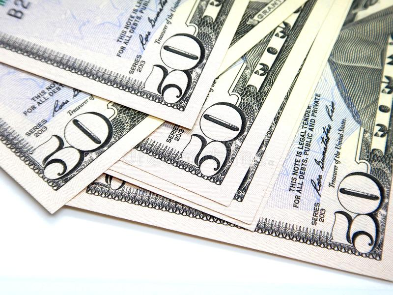 Money, fifty US dollar banknotes stock photography