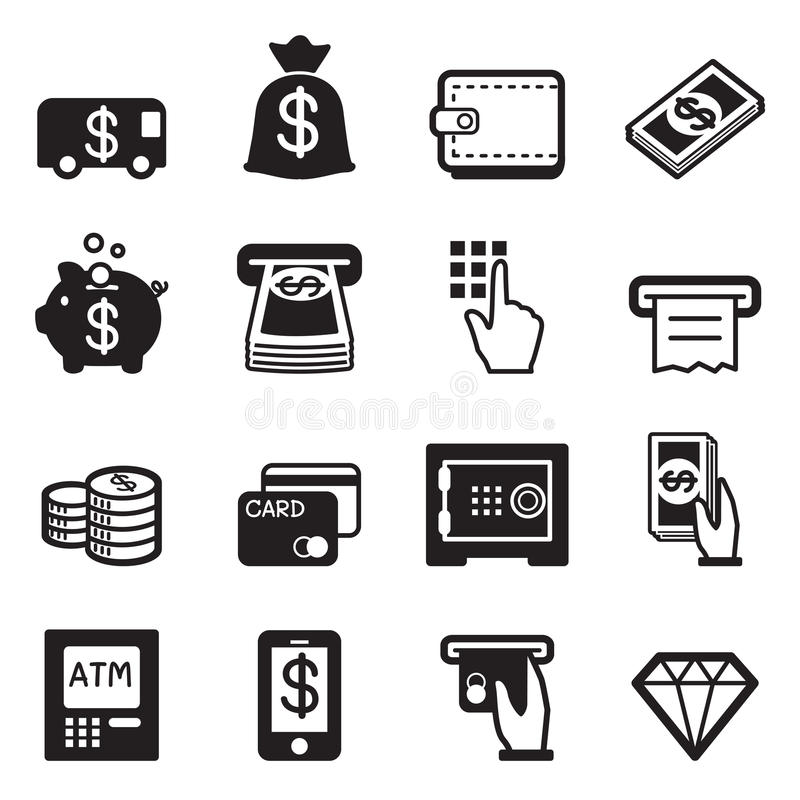Money, finance, banking credit card icons vector stock illustration