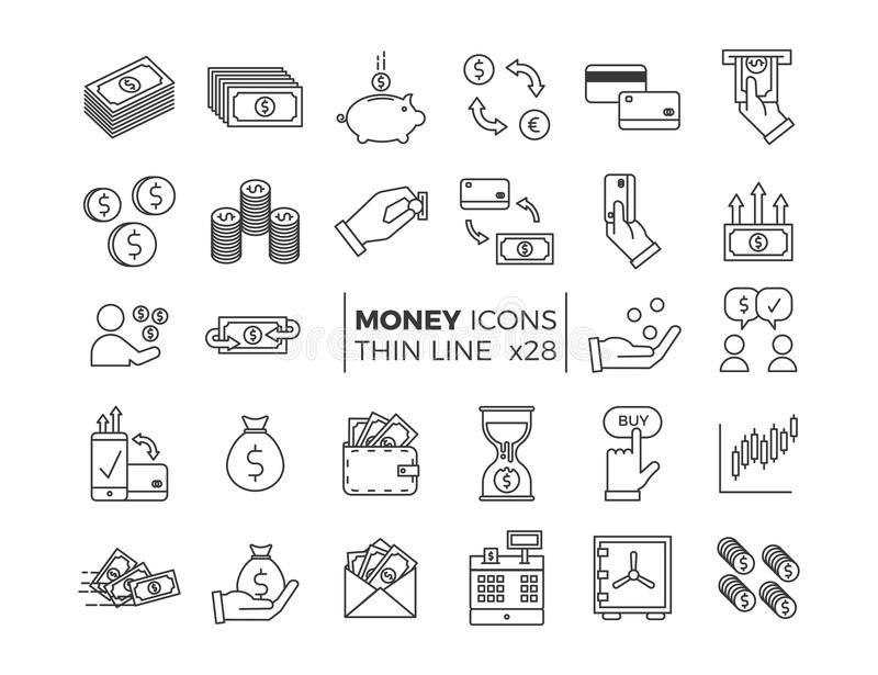 Money and Finance icons. Vector thin line pictograms of different economy subjects - savings, salary, payments, transactions. Money and Finance icons. Vector stock illustration