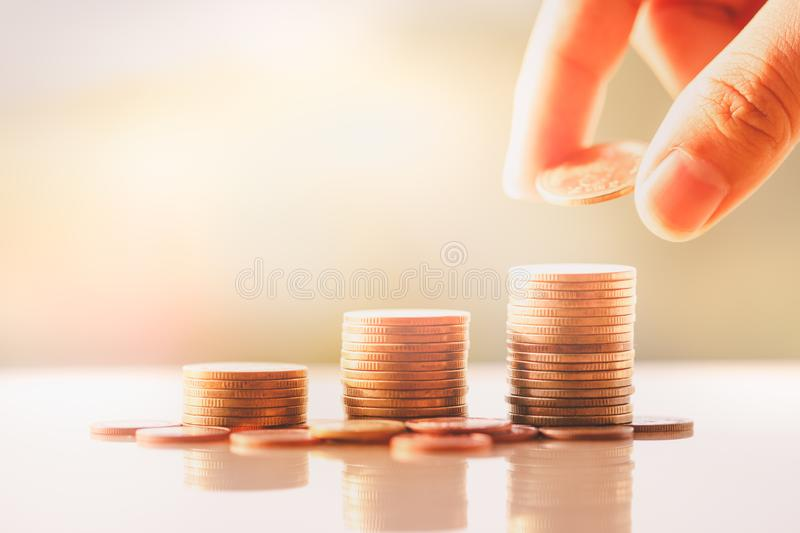 Money coins stack royalty free stock images