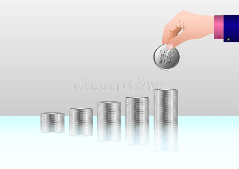 Money, Financial, Business Growth concept, Man`s hand put money coins to stack stock illustration