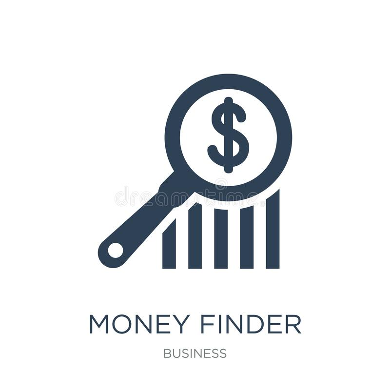 Money finder icon in trendy design style. money finder icon isolated on white background. money finder vector icon simple and. Modern flat symbol for web site vector illustration