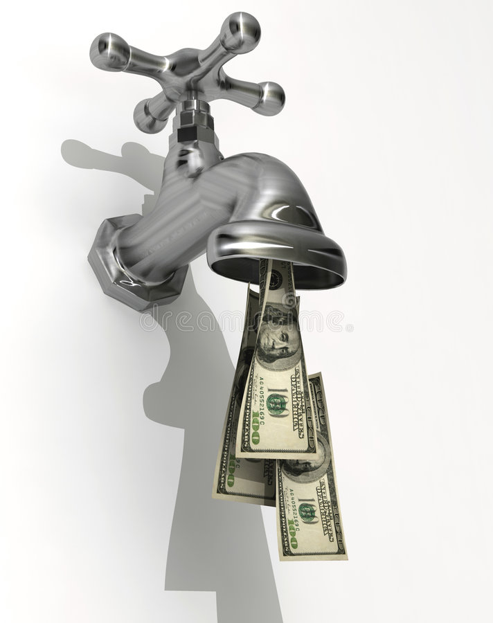 Money flow. Conceptual faucet dripping money - rendered in 3d
