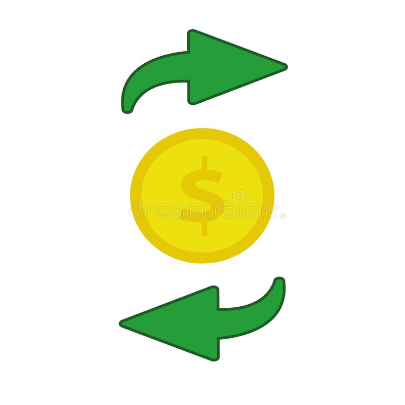Money flow flat icon. Isolated on white background. Vector illustration. Cash flow, payment transaction stock illustration
