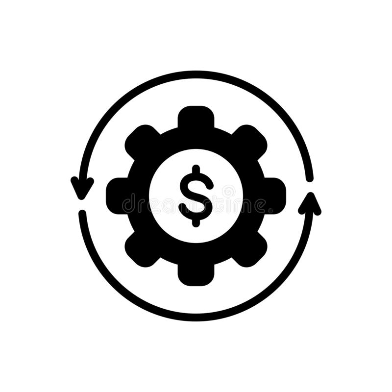 Black solid icon for Money Flow, cash and recycle. Black solid icon for Money Flow, abundance, currency, finance, cycle,  cash and recycle royalty free illustration