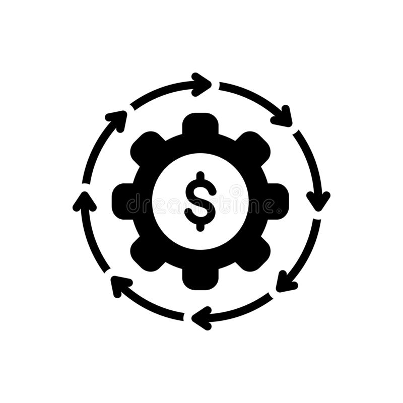 Black solid icon for Money Flow, cash and recycle. Black solid icon for Money Flow, abundance, currency, finance, cycle,  cash and recycle vector illustration