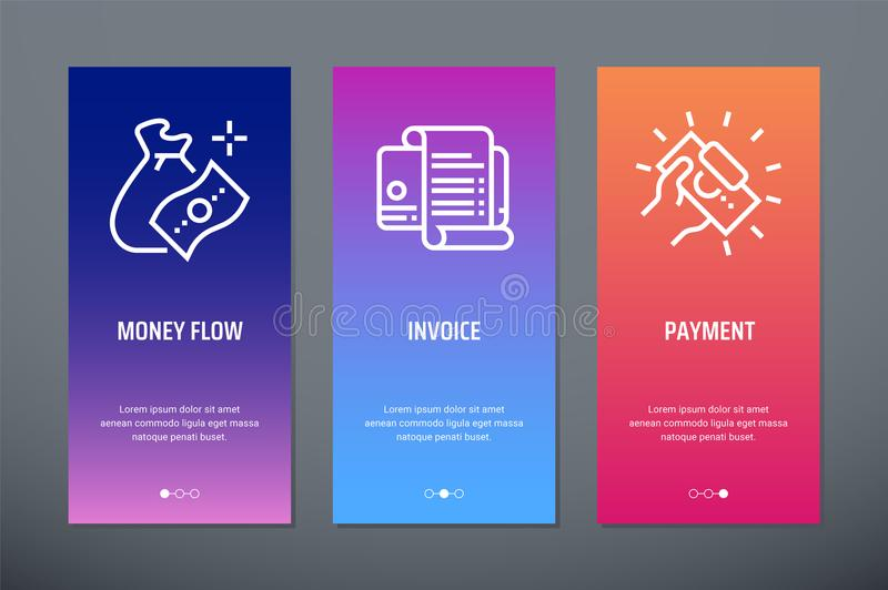 Money flow, Invoice, Payment Vertical Cards with strong metaphors. vector illustration