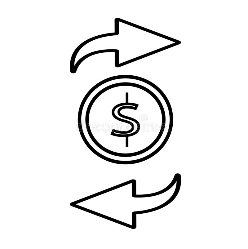 Money flow line icon. Isolated on white background. Vector illustration. Cash flow, payment transaction royalty free illustration