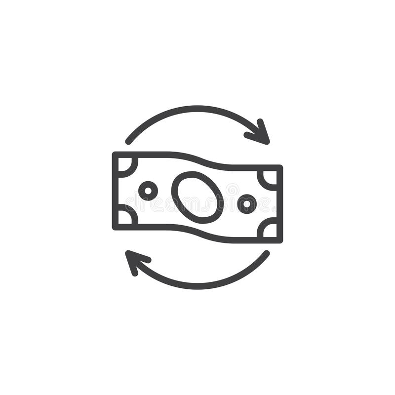 Money flow line icon. Linear style sign for mobile concept and web design. Paper money with circular arrows outline vector icon. Exchange symbol, logo stock illustration
