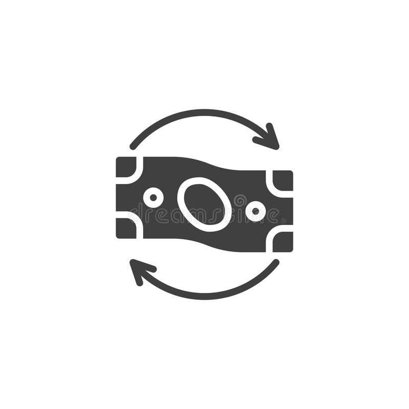 Money flow vector icon. Filled flat sign for mobile concept and web design. Paper money with circular arrows glyph icon. Exchange symbol, logo illustration vector illustration